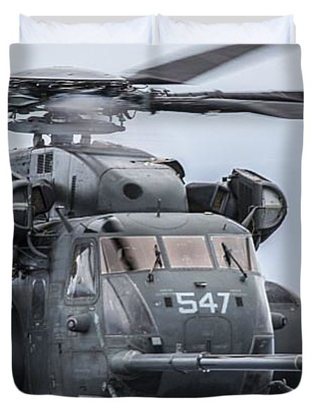 An Mh-53e Sea Dragon Helicopter  Conducts An Aerial Refuel Duvet Cover