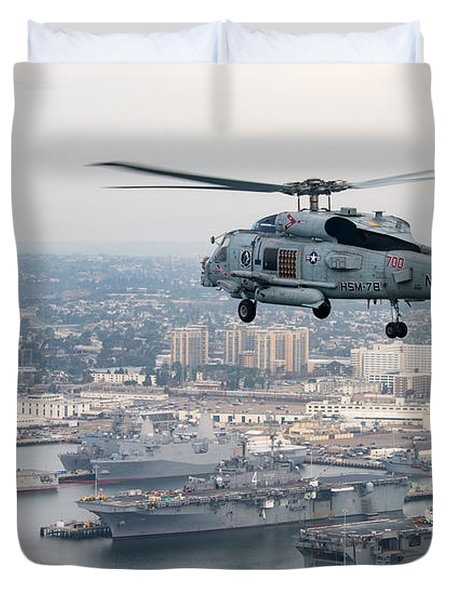 An Mh-60r Sea Hawk Helicopter Flies Over San Diego. Duvet Cover