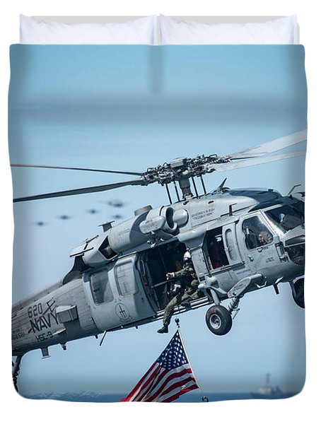An Mh-60s Sea Hawk Helicopter Displays The American Flag. Duvet Cover