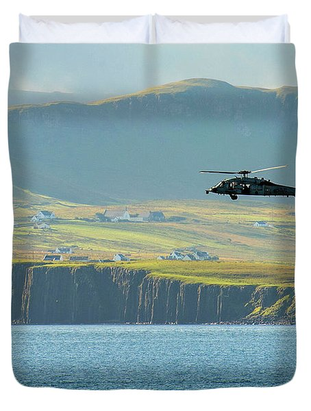 An Mh-60s Sea Hawk Helicopter Patrols Duvet Cover