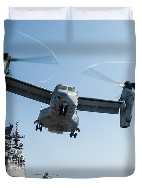 An Mv-22 Osprey Lifts Off From The Flight Deck Of Uss America During Flight Operations.    Duvet Cover