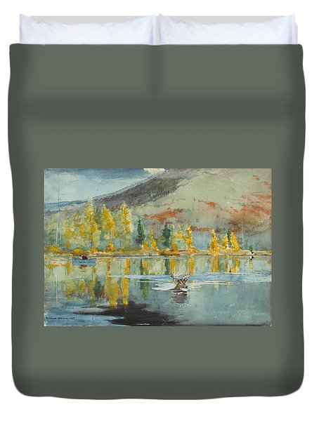 Duvet Cover featuring the painting An October Day by Winslow Homer