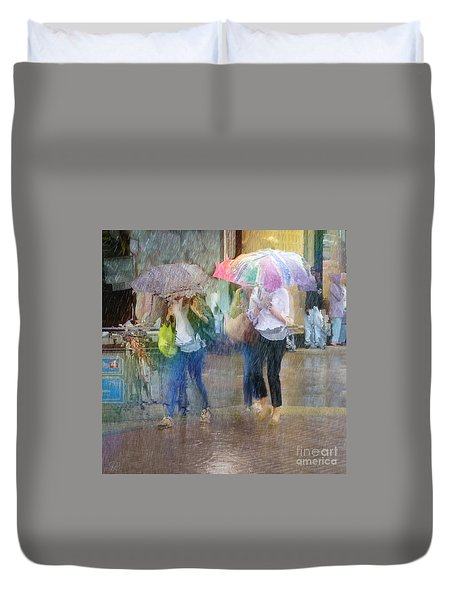 Duvet Cover featuring the photograph An Odd Sharp Shower by LemonArt Photography