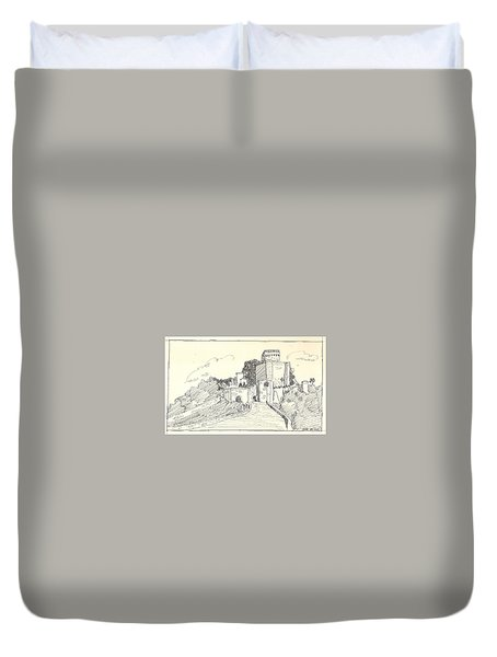 Duvet Cover featuring the drawing An Old Castle by Asha Sudhaker Shenoy