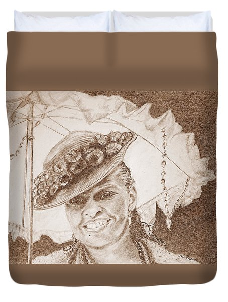 An Old Fashioned Girl In Sepia Duvet Cover by Antonia Citrino