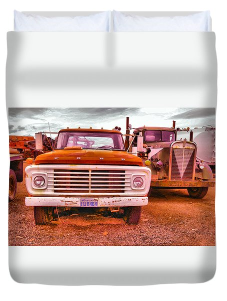Duvet Cover featuring the photograph An Old Ford And Kenworth by Jeff Swan