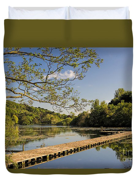 An Old Jetty Duvet Cover by David  Hollingworth