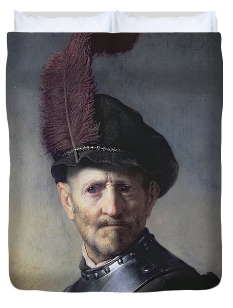 An Old Man In Military Costume Duvet Cover
