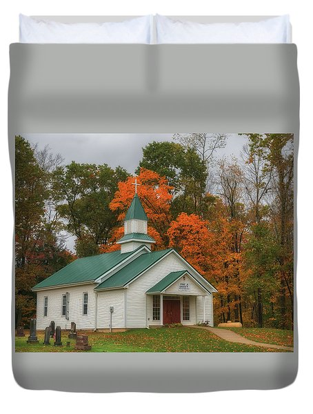 An Old Ohio Country Church In Fall Duvet Cover