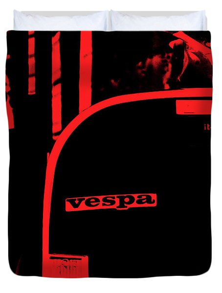 An Old Red Vespa Duvet Cover by Andrea Mazzocchetti