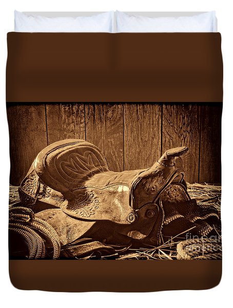 An Old Saddle Duvet Cover by American West Legend By Olivier Le Queinec