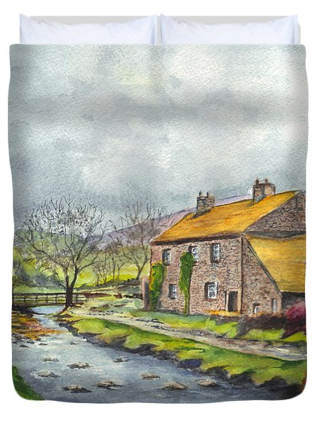 An Old Stone Cottage In Great Britain Duvet Cover by Carol Wisniewski