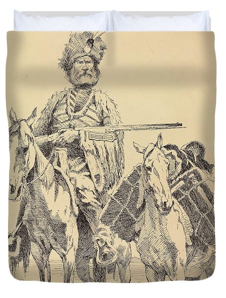 An Old Time Mountain Man With His Ponies Duvet Cover