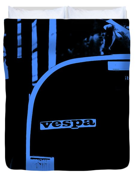 An Old Vespa In Blue Duvet Cover by Andrea Mazzocchetti