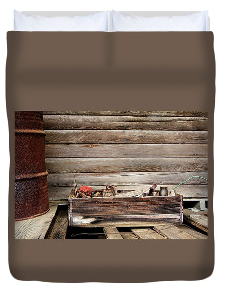 An Old Wooden Toolbox Duvet Cover by Lynn Jordan