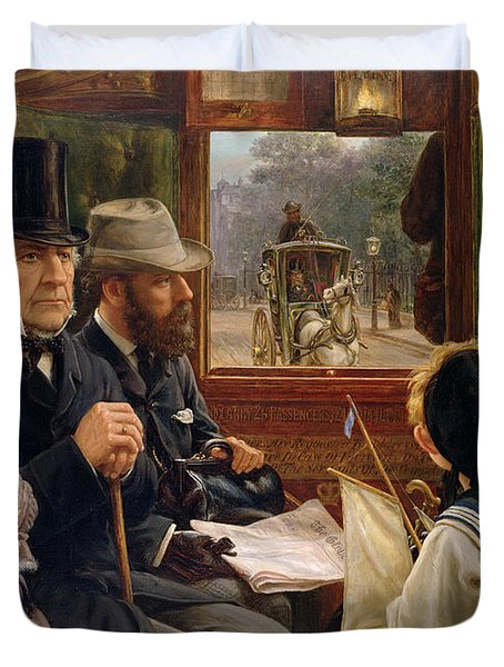 An Omnibus Ride To Piccadilly Circus, Mr Gladstone Travelling With Ordinary Passengers Duvet Cover