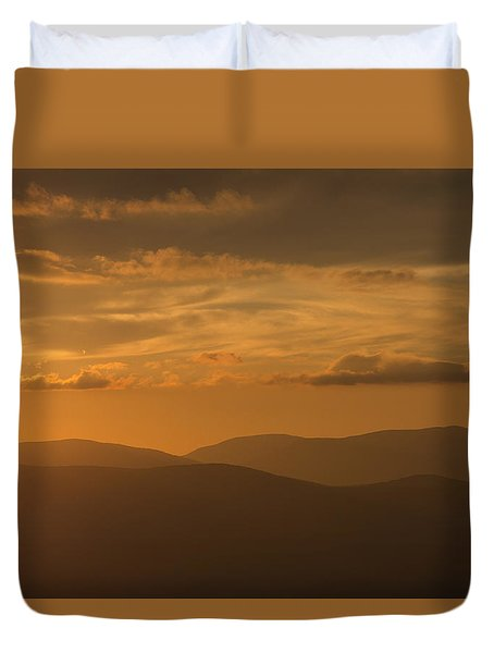 An Orange Vermont Sunset Duvet Cover