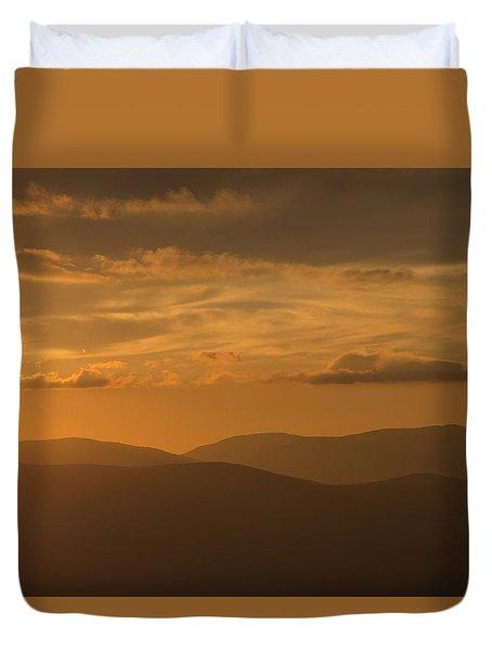An Orange Vermont Sunset Duvet Cover
