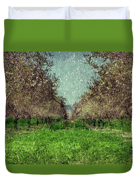 An Orchard In Blossom In The Eila Valley Duvet Cover