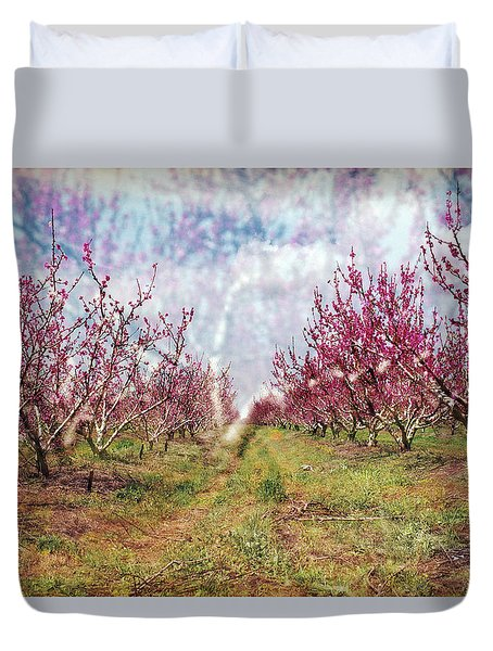 An Orchard In Blossom In The Golan Heights Duvet Cover