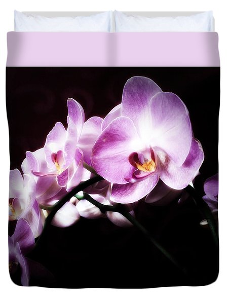 Duvet Cover featuring the mixed media An Orchid For You by Gabriella Weninger - David