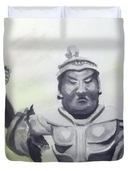 Duvet Cover featuring the painting An Oriental Statue At Toledo Art Museum - Ohio by Yoshiko Mishina