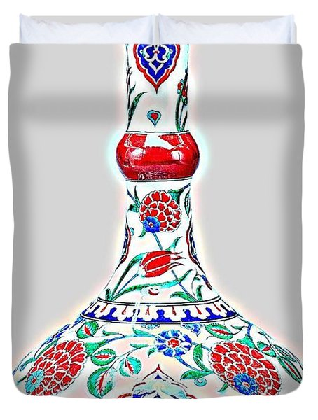 An Ottoman Iznik Style Floral Design Glowing Pottery Polychrome, By Adam Asar, No 5a Duvet Cover
