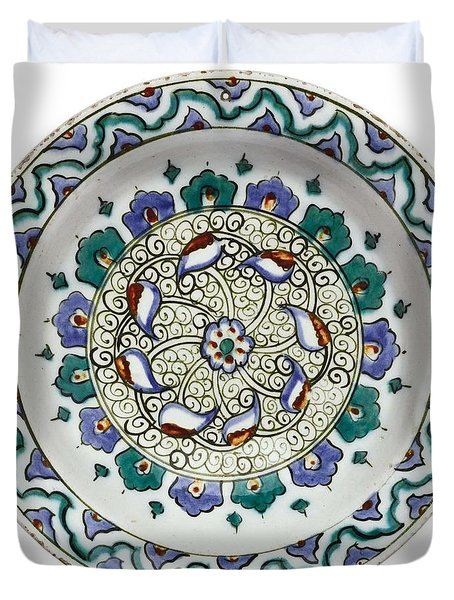 An Ottoman Iznik Style Floral Design Pottery Polychrome, By Adam Asar, No 18 Duvet Cover