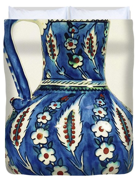 An Ottoman Iznik Style Floral Design Pottery Polychrome, By Adam Asar, No 19a Duvet Cover