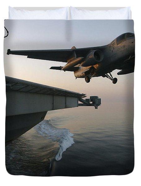 An S-3b Viking Clears The Flight Deck Duvet Cover by Stocktrek Images