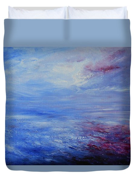 Duvet Cover featuring the painting An Unspoken Message by Jane See
