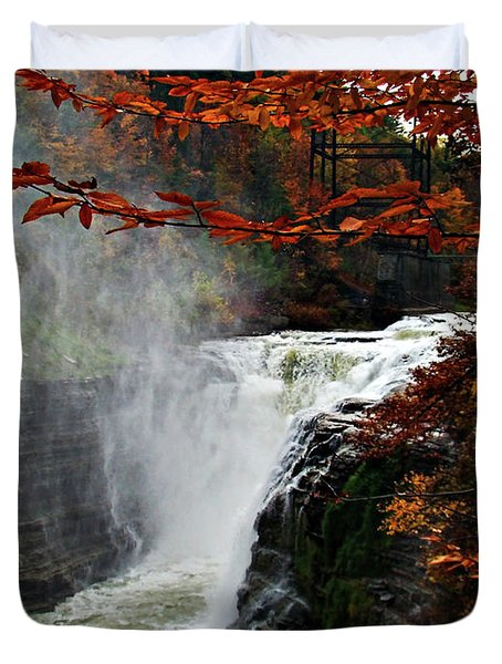 An Upper Letchworth Autumn Duvet Cover by Lianne Schneider