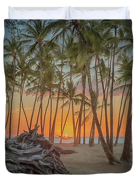 Anaehoomalu Beach Sunset Duvet Cover