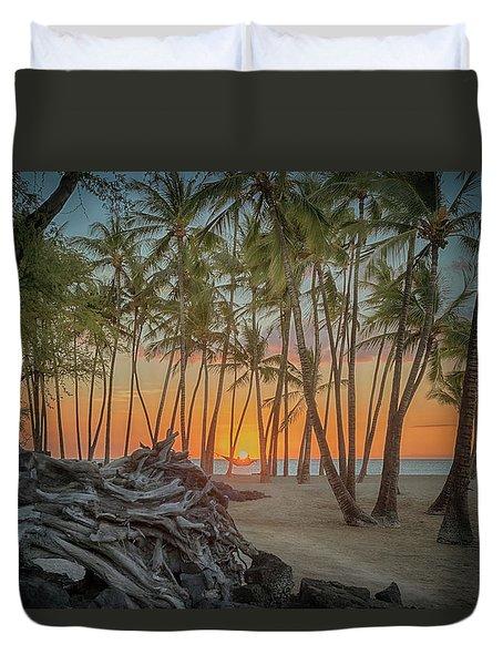Anaehoomalu Beach Sunset Duvet Cover