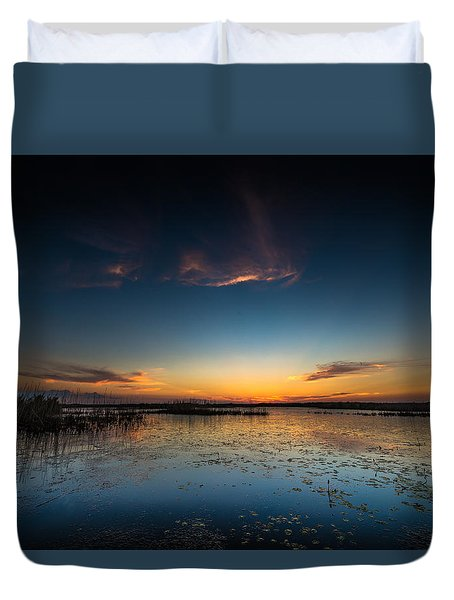 Duvet Cover featuring the photograph Anahuac Sundown by Allen Biedrzycki