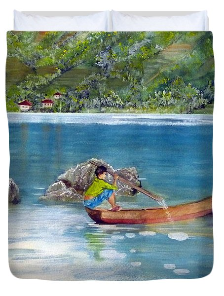 Duvet Cover featuring the painting Anak Dan Perahu by Melly Terpening