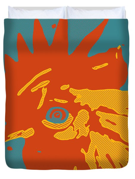 Analog Rooster Rocks Duvet Cover