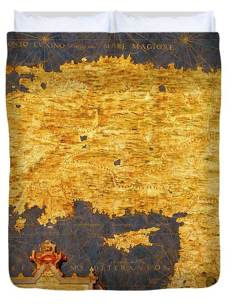 Anatolian Peninsula With Ancient Toponyms And Middle East Duvet Cover