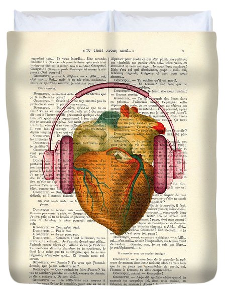 Anatomical Heart And Headphonesin Color  Duvet Cover