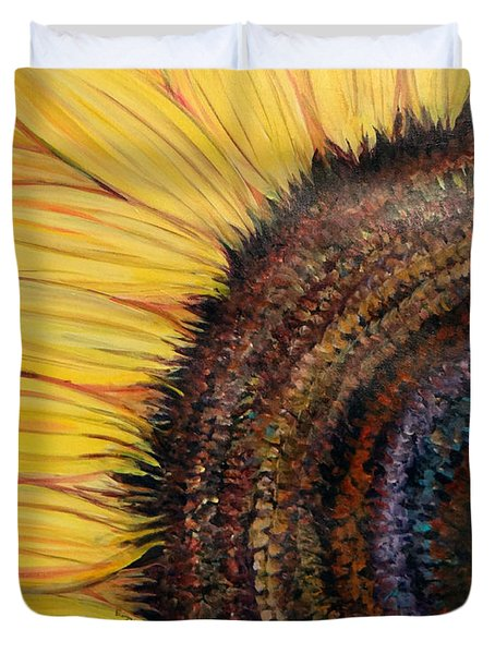 Duvet Cover featuring the painting Anatomy Of A Sunflower by Ecinja Art Works