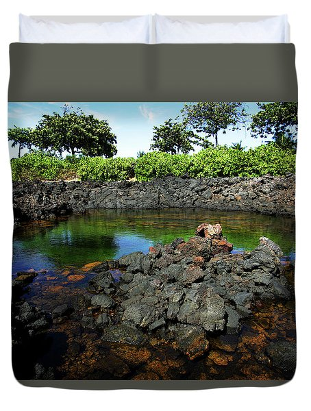 Duvet Cover featuring the photograph Anchialine Pond by Anthony Jones