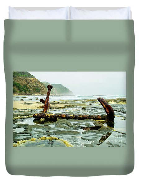 Duvet Cover featuring the photograph Anchor At Rest by Angela DeFrias