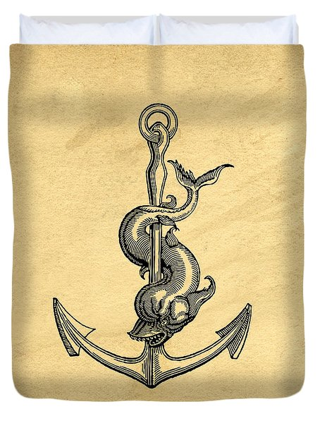 Duvet Cover featuring the drawing Anchor Vintage by Edward Fielding