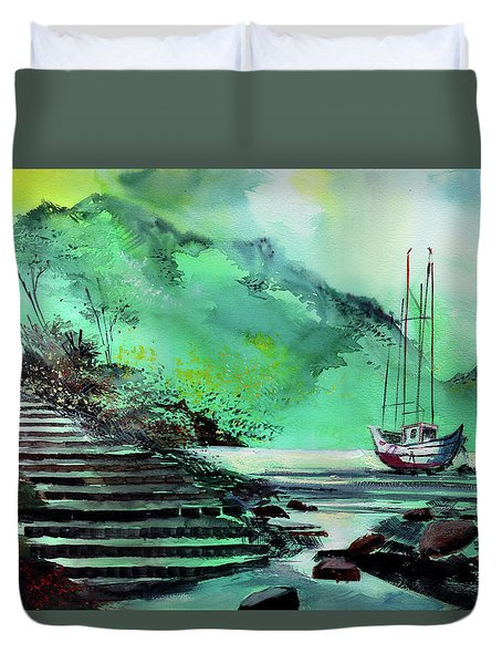 Duvet Cover featuring the painting Anchored by Anil Nene