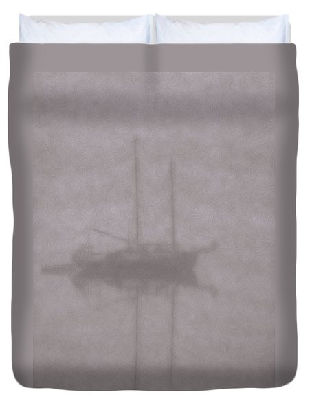 Anchored In Fog #1 Duvet Cover by Wally Hampton