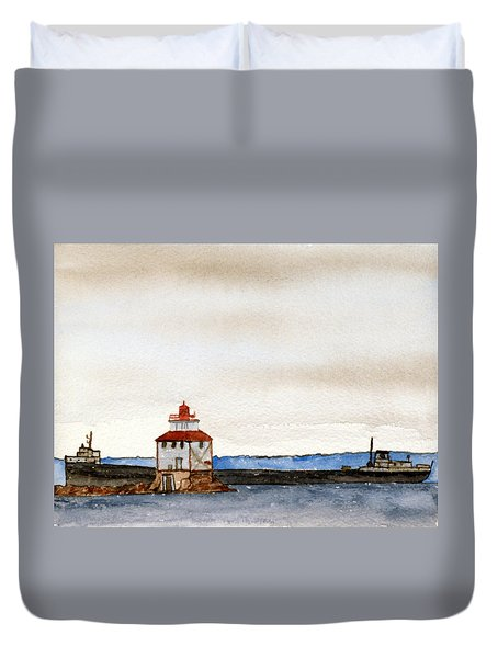 Anchored In The Bay Duvet Cover by R Kyllo