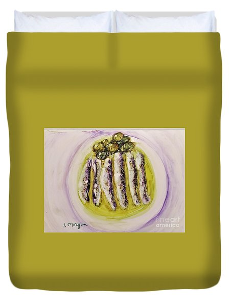 Anchovies And Olives Duvet Cover