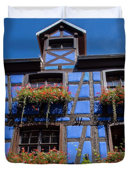 Ancient Alsace Auberge In Blue Duvet Cover