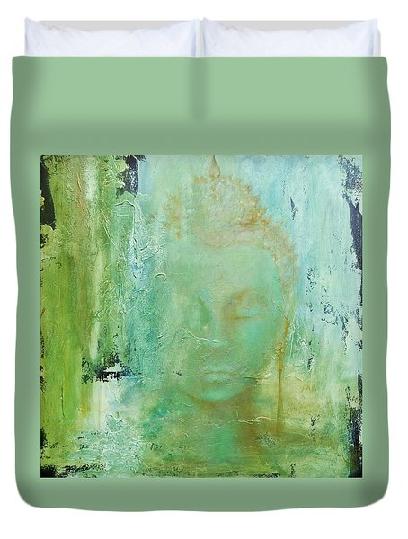 Duvet Cover featuring the painting Ancient Buddha by Dina Dargo