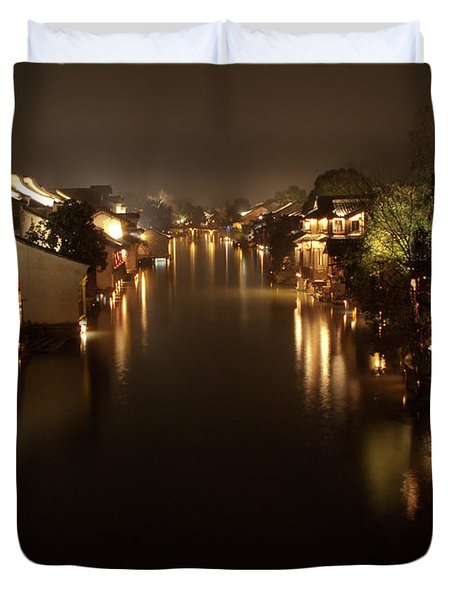Ancient Chinese Water Town Duvet Cover